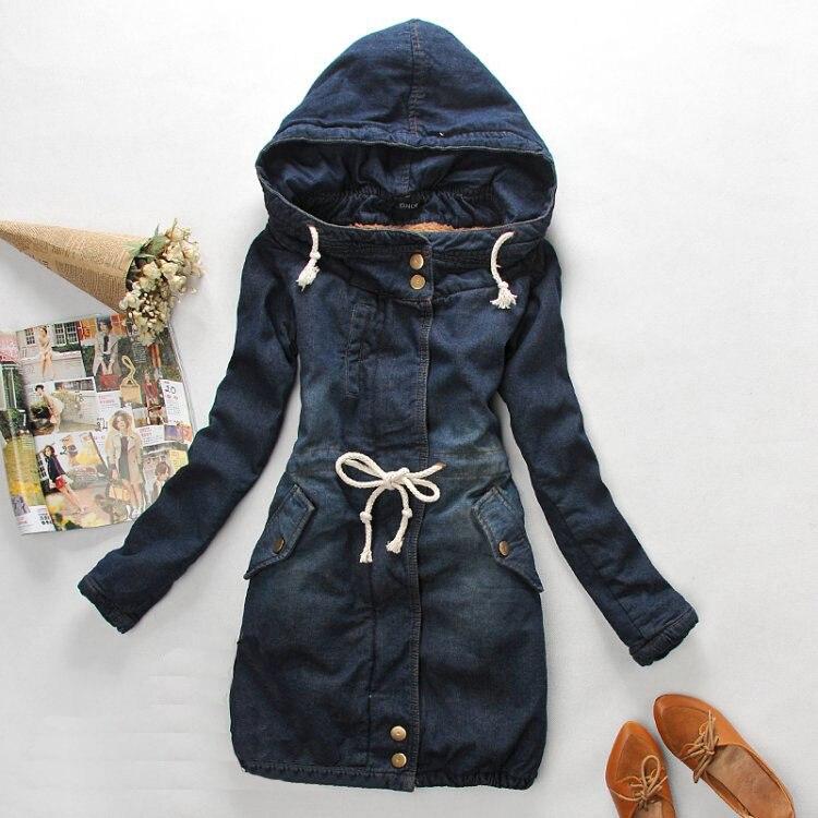Denim Jacket Women S Parka Winter Korean Slim Denim Long Thick Warm