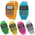 Кастрировать Силикона 2016 Новый Повседневная Мода Спортивные Часы Для Мужчин Дети Электронный Многофункциональный Калькулятор Часы Желе Цифровые Часы