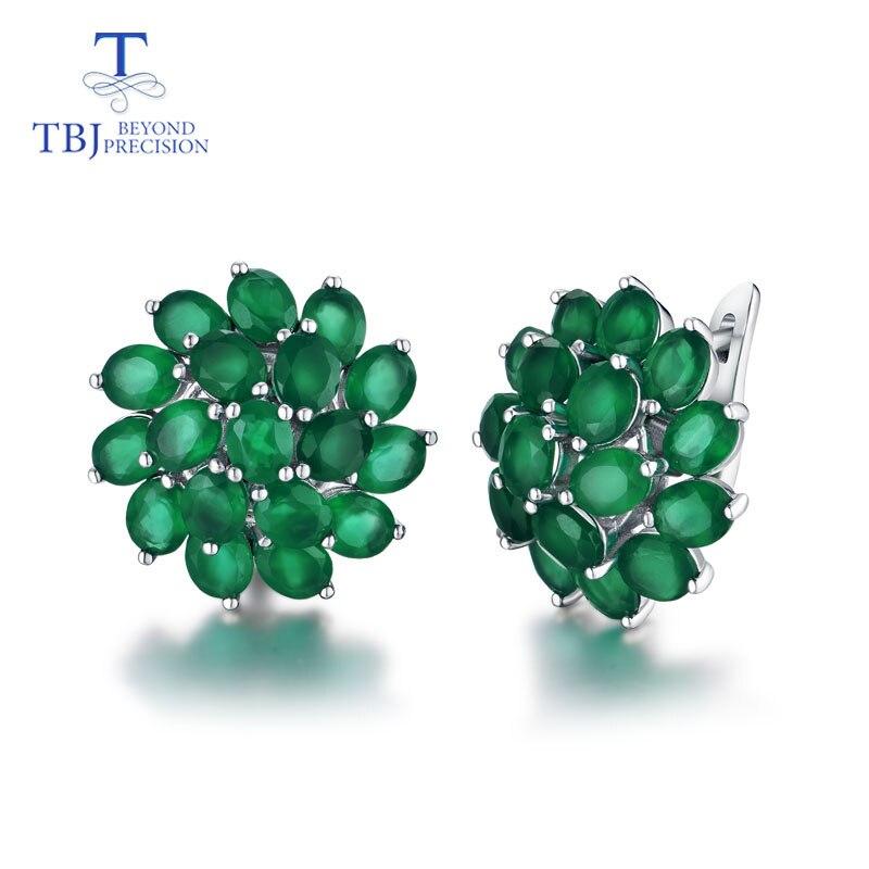 TBJ ، جيدة المشبك القرط مع الطبيعي الأخضر العقيق في 925 فضة مجوهرات بسيطة الكلاسيكية أنيقة تصميم للنساء سيدة هدية-في الأقراط من الإكسسوارات والجواهر على  مجموعة 1