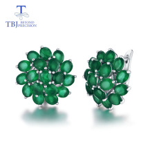 цена на TBJ,good clasp earring with natural green agate in 925 sterling silver jewelry simple classic elegant design for women lady gift