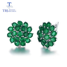 TBJ,good clasp earring with natural green agate in 925 sterling silver jewelry simple classic elegant design for women lady gift