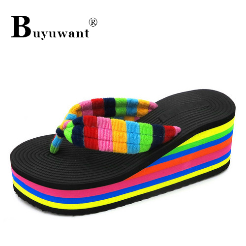 Women Slippers Wedge Heels Cool Summer Leisure Slippery Wear Resisting Female Fashion Flip Flops Rainbow Beach Sandals In S From