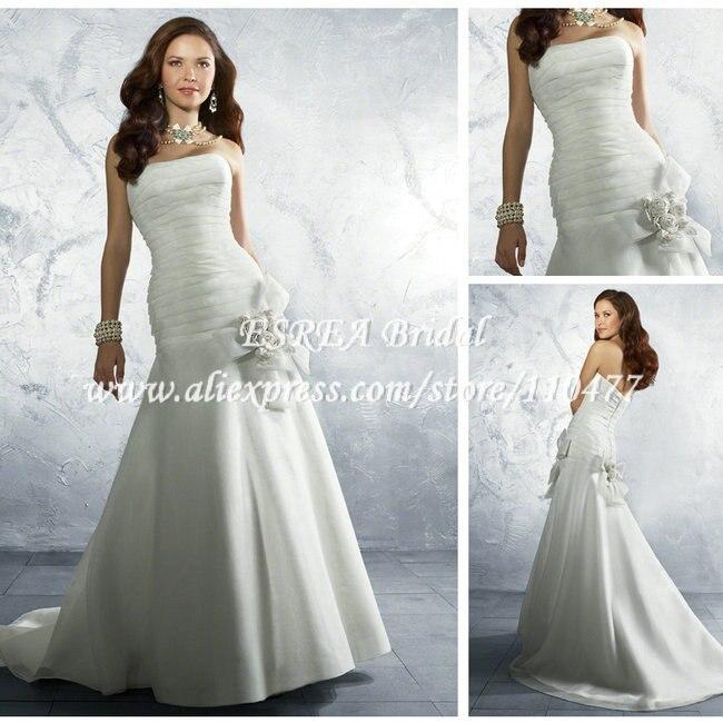 Low Waist Wedding Gowns: Vintage Strapless Low Waist White Satin 2014 Wedding Dress