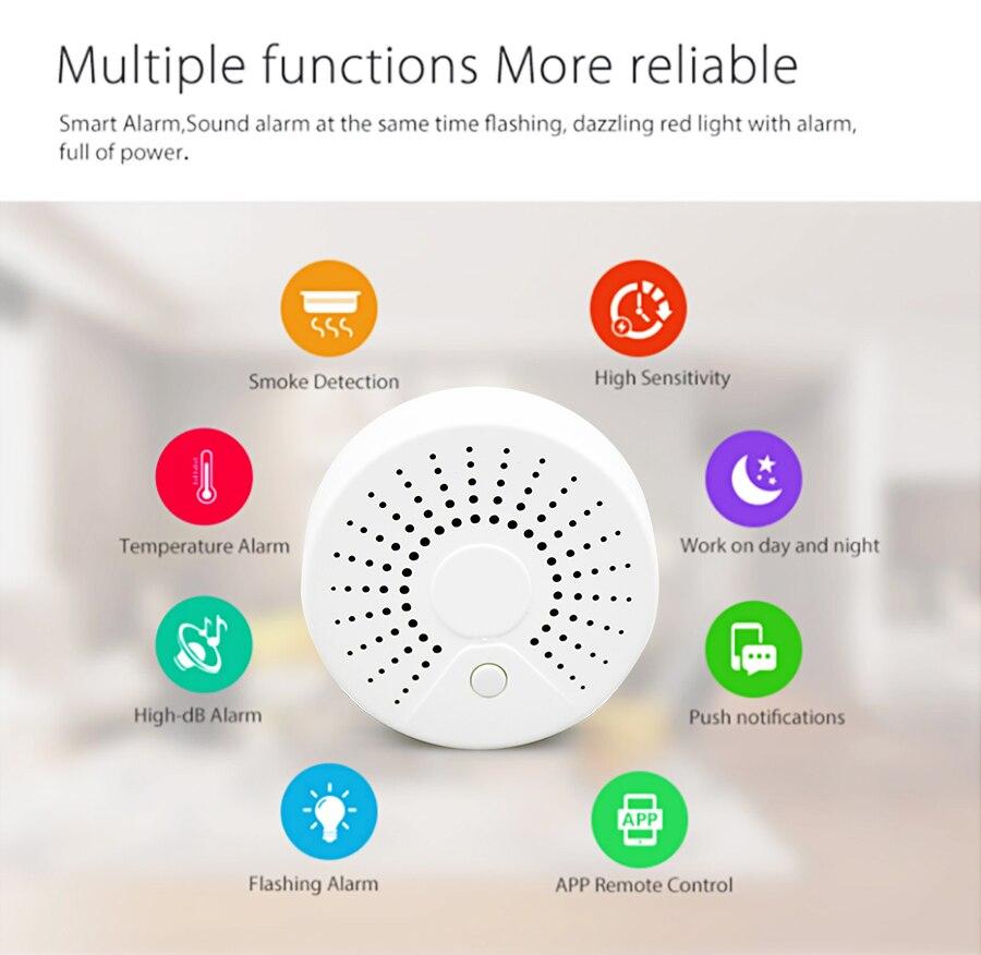 Zemismart Wifi Tuya Smart Smoke Sensor 100db Wifi Smart