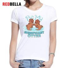 REDBELLA Tumblr Clothing Harajuku Kawaii Cute Ulzzang Animals T-shirt Women 100% Cotton Funny Fashion Short Sleeve Pop New Tops