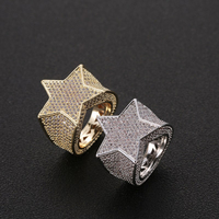 Lucky Sonny Hip Hop Star Rings Gold Silver Color Ring Men Full CZ Iced Bling Ring Hip Hop Rock Anel Bijoux Anillo Free Shipping