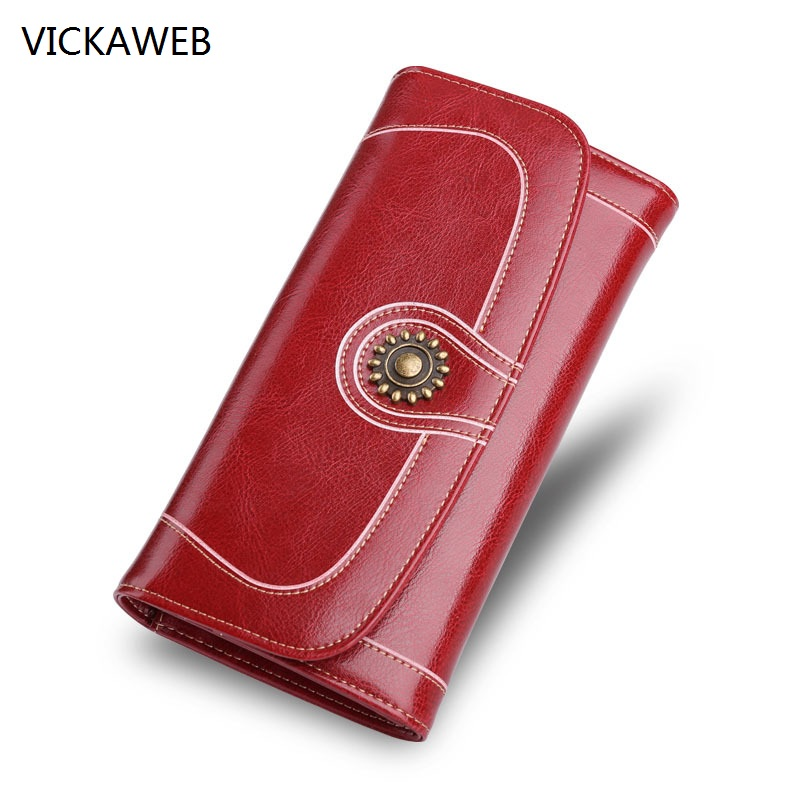 new women wallets genuine leather long wallets oil wax leather wallet fashion female purse famous brand card holder clutch