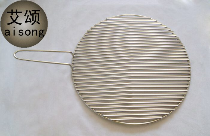 295mm with handleAISONG stainless steel beef barbecue,round crescent groove barbecue net,stainless steel 304 barbecue grill mesh