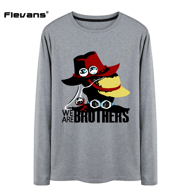 Flevans Cool One Piece T-shirt Mens 100% Cottong High Quality Print T Shirt Man Luffy Ace Fashion Spring Tee Tops Fans Clothing