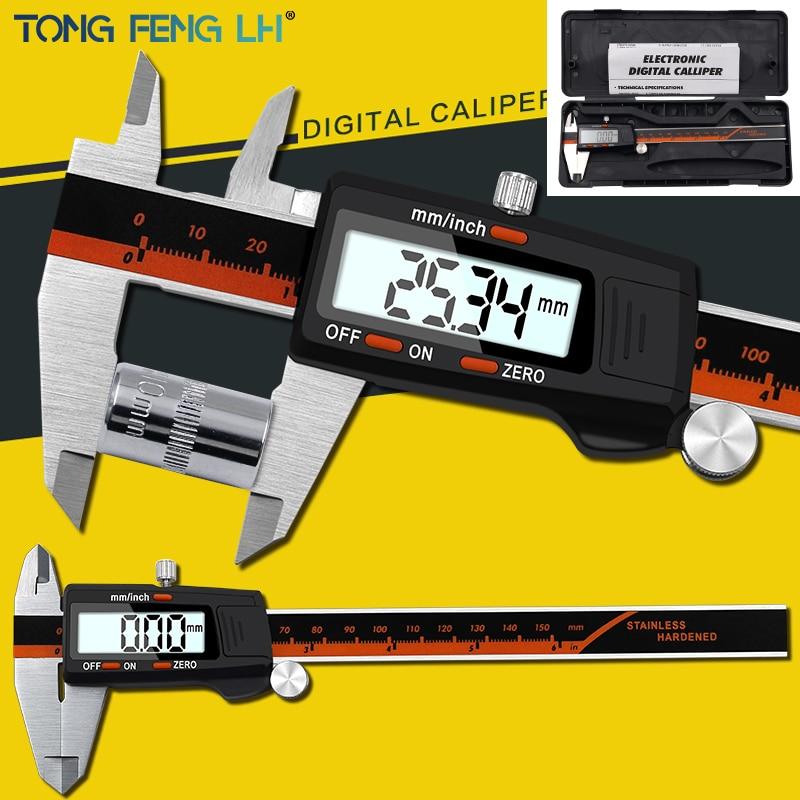 Digital Vernier Caliper 6 Inch 0-150mm Stainless Steel Electronic Caliper Micrometer Depth Measuring ToolsDigital Vernier Caliper 6 Inch 0-150mm Stainless Steel Electronic Caliper Micrometer Depth Measuring Tools