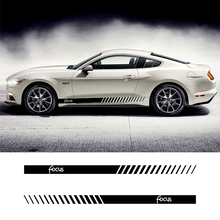 2 PCS Vinyl Car Styling Side Stripes Skirt Sticker Vehicle Auto Decals Stripe Wraps Body Graphics For Ford Focus