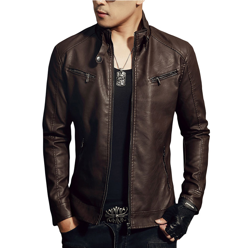 LNREAL Men's Synthetic Leather Jackets Solid Slim Stand Collar Zipper Fashion Coat