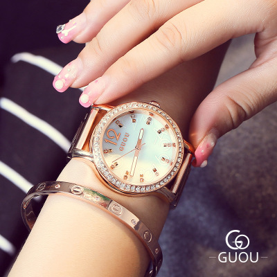 Hot Sale GUOU WristWatches Women Luxury Brand Fashion Rhinestone watches Stainless Steel Exquisite Ladies Watch relogio feminino onlyou brand luxury fashion watches women men quartz watch high quality stainless steel wristwatches ladies dress watch 8892