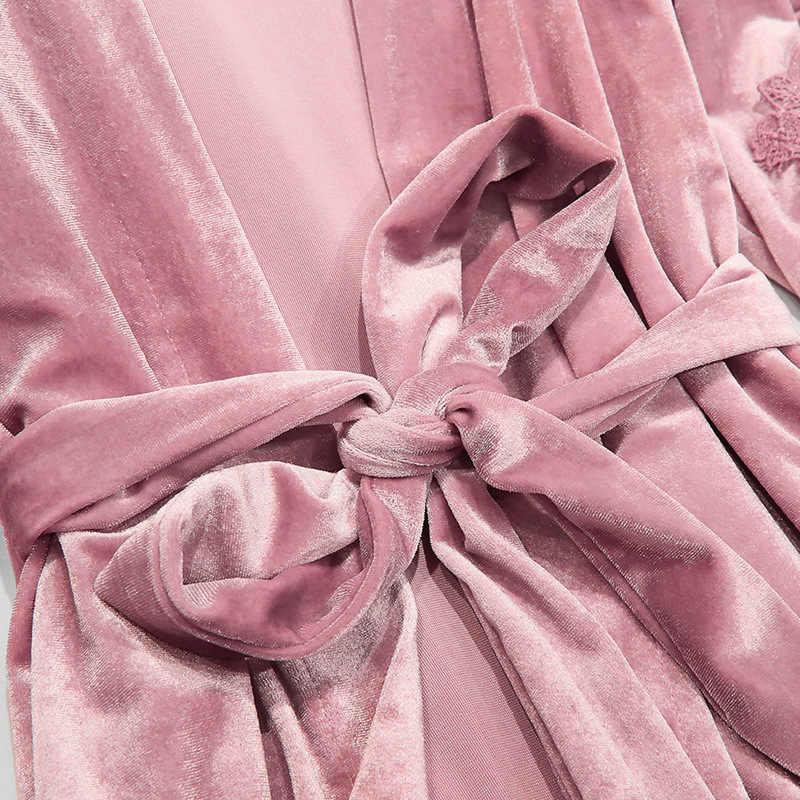 2019 Vàng Nhung 4 Miếng Mùa Đông Ấm Áp Bộ Đồ Ngủ Bộ Với Quần Nữ Gợi Cảm Pijama Đồ Ngủ Áo Váy Ngủ Bộ Pyjama