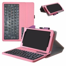 Removable Bluetooth Keyboard Tablet  Case For 7.0″ Lenovo Tab4 7 7504F 2017,Portable Folding with Stand PU Leather