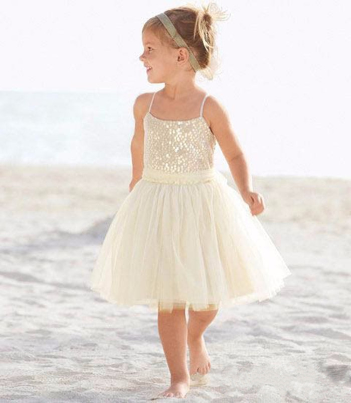 New white ivory nice spaghetti straps sequined knee length A-line flower girl dress beautiful casual dress birthday gowns polka dots spaghetti straps womens short dress