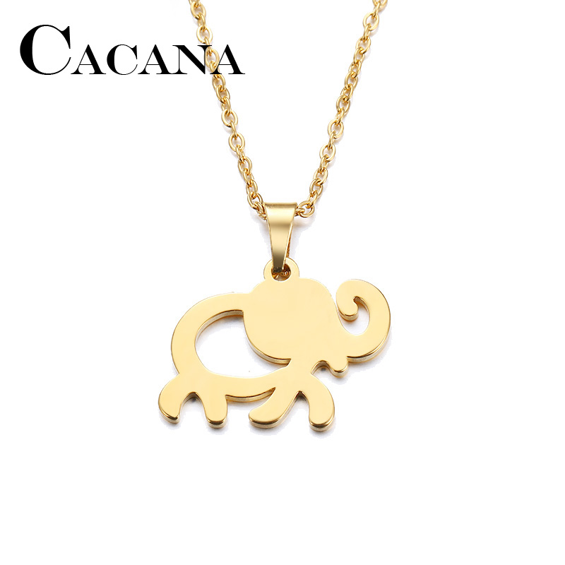 Stainless Steel Necklace For Women Man Lovers African Elephant Gold And Silver Color Pendant Necklace Engagement Jewelry