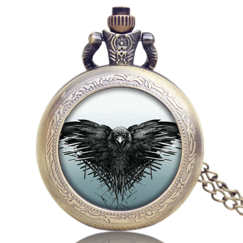A Song of Ice and Fire The Game of Thrones Theme All Men Must Die Design Glass Dome Pocket Watch With Chain Necklace dragon eye song of ice and fire the game of thrones pocket watch all men must die retro design quartz watches 2017 necklace