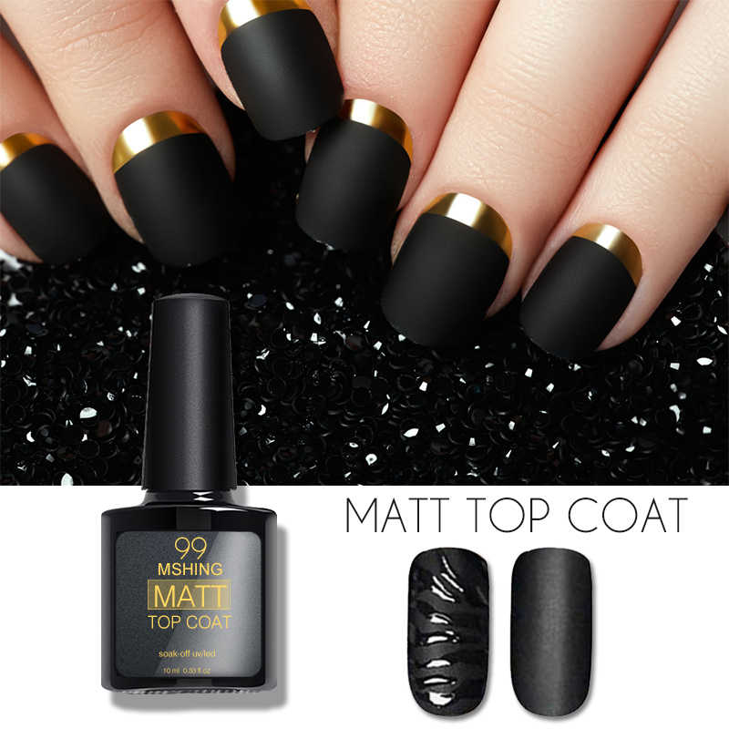 Mshing99 8Ml Matte Top Coat dan Base Foundation Gel Top Coat UV LED Nail Polish Semi Pernis Permanen gel Varnish Seni