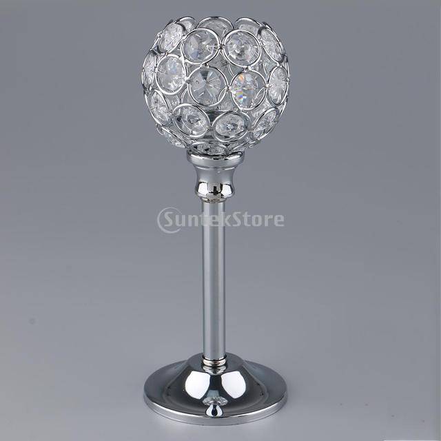 Crystal Metal Candle Holder Candlestick Wedding Holidays Christmas Events Tabletop Home Decor Ornament Tealight Candle Holders 6