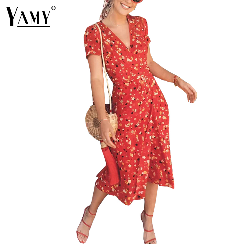 Summer flower Cherry print chiffon dress women retro v neck puff sleeve midi dress Casual boho wrap dress 2018 vestidos