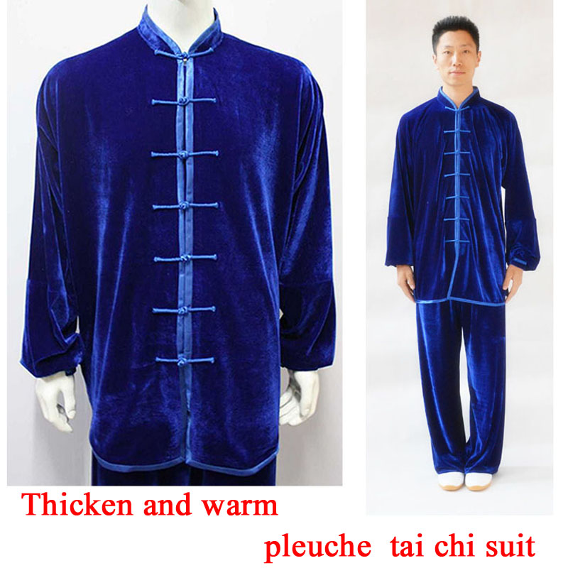 Tai Chi Clothing Thicken And Warm Gold Velvet Kung Fu Suit Autumn And Winter Pleuche Tai Chi Clothes  For Men And Women