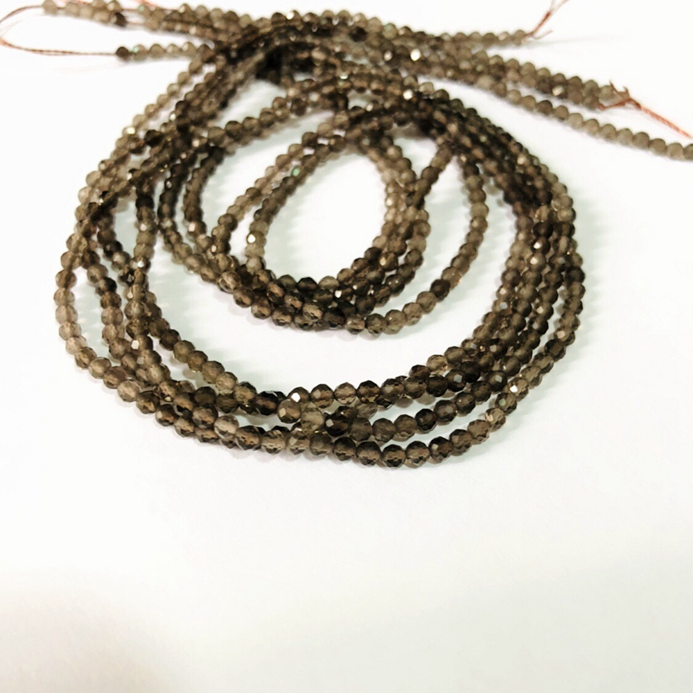 """Natural Smoky Crystal Quartz Micro Facted Beads,Faceted Tiny Spacer Gem Beads,Size 2mm 3mm 4mm Small Beads 1of 15.5"""" strand
