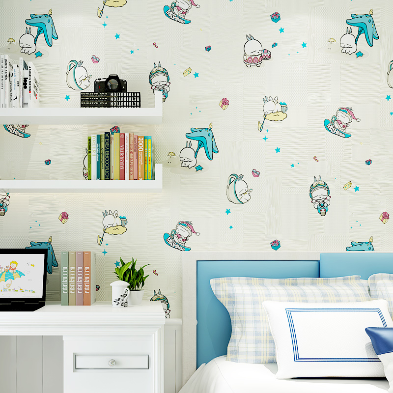 PAYSOTA New Cartoon Wallpaper Lovely Run Rabbit Children Room Boy Girl Bedroom Room Nonwoven Wall Paper Roll купить