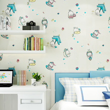 PAYSOTA New Cartoon Wallpaper Lovely Run Rabbit Children Room Boy Girl Bedroom Nonwoven Wall Paper Roll