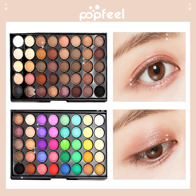 Popfeel 40 colores de sombra de ojos de paleta de sombra de ojos mate brillo sombra de ojos maquillaje desnudo maquillaje brillo desnudo hacen arriba kit de