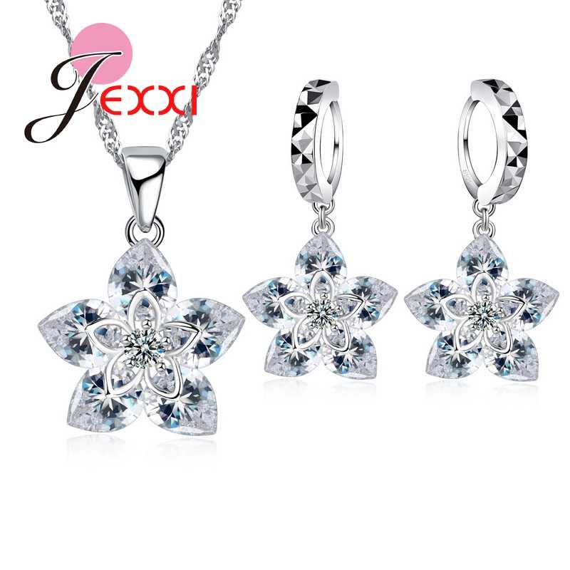 Classic 925 Sterling Silver Crystal Flower Pendant Necklace+ Earrings Set Bridal 925 Sterling Silver Gift Jewelry Set