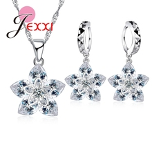 JEXXI Classic 925 Sterling Silver Crystal Flower Pendant Necklace+ Earrings Set Bridal Gift Jewelry