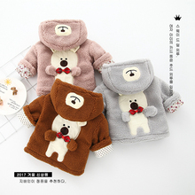 Newborn new children's clothing autumn and winter cute boys and girls baby wool sweater behind the cartoon bear fashion coat 964