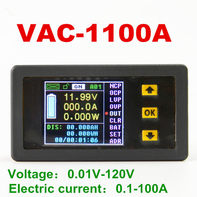 Digital LED VAC1100A Color Multifunction meter Monitor Coulomb Counter For voltage current power capacity watts 120V/100A