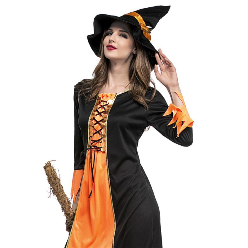 High qualit Halloween Witch Costumes Masquerade Carnival clothing Fantasia Infantil Adult Fairy Wicked witch Cosplay Party Dress