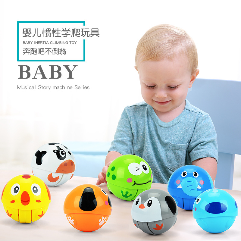 1pc Baby Toy Ball 3+ Months Cartoon Animal Running Tumbler Bebe Educational Toys For Babies Baby Rattles ...