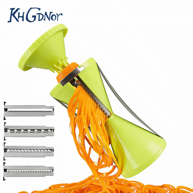 Replaceable Blades Spiral Slicer Fruit and Vegetable Spiralizer Carrot Cucumber Grater Cutters With 4 Blades Kitchen Accessories