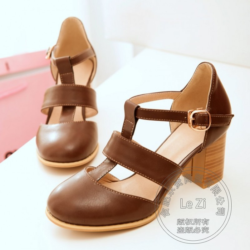 ФОТО Buckle Strap Soft Daily Womens Shoes Pu T-Shaped Buckle Female Pu Famous Square Heel Sweet Round Toe Brand Shoes Women Delicate
