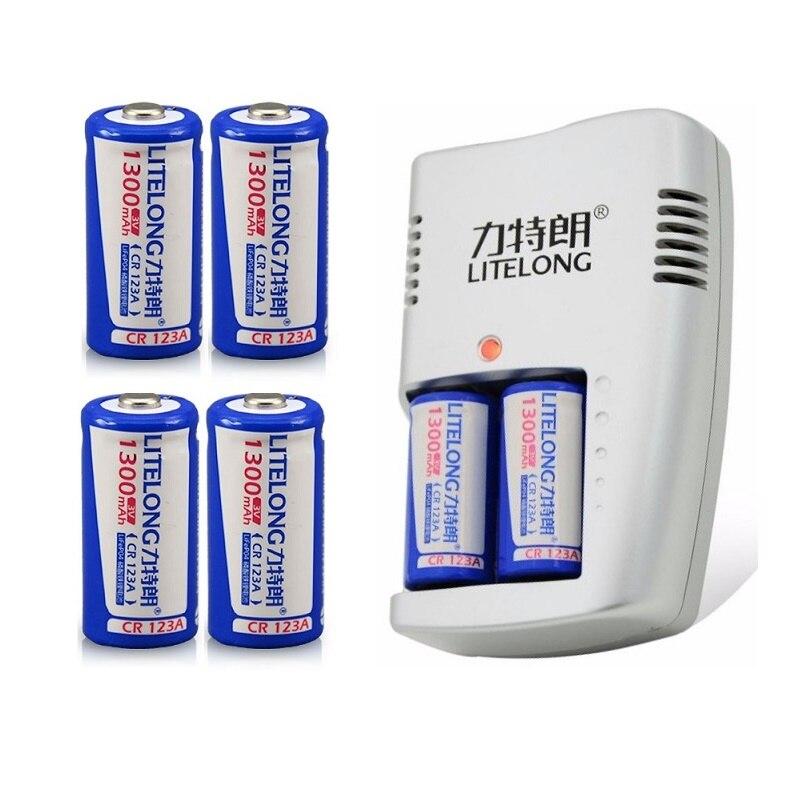 Super 6 pièces LITELANG 1300 mAh 3 v CR123A rechargeable LiFePO4 batterie batterie au lithium avec chargeur