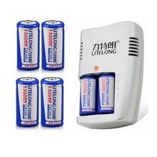 Super 6 unids LITELANG 1300 mAh 3 v CR123A batería recargable LiFePO4 batería de litio con el cargador