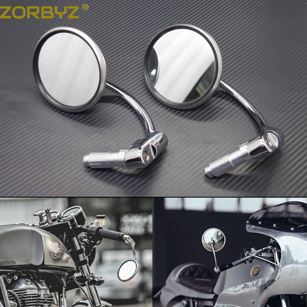 Chrome Mirrors PAIR 8mm Fits Most British and European Bikes Cafe Racers
