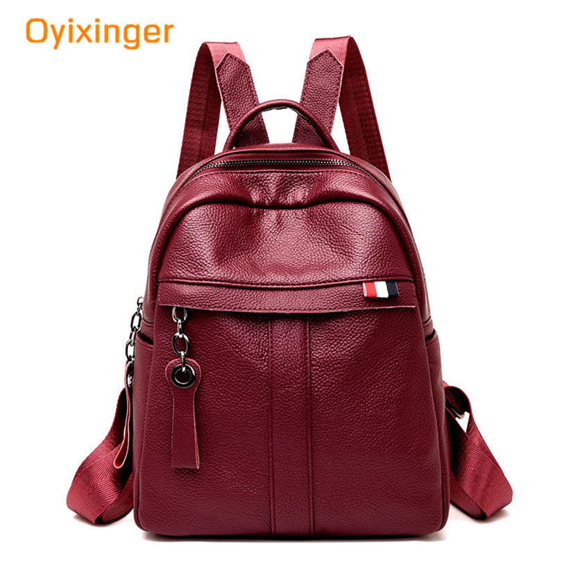 Oyixinger 2018 New Pattern Both Shoulders Package Woman Litchi Boomer Backpack Fashion Leisure Time Women's Soft Leather Bag стоимость