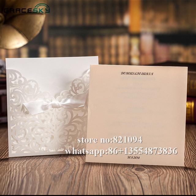 50pcs free shipping laser cut European style pocket paper wedding