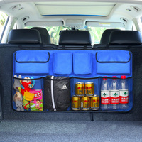 Big Auto Accessories Car Trunk Back Seat Organizer Bag SUV Net Mesh Storage Stowing Tidying Floding Pockets Trash Automobile Bag