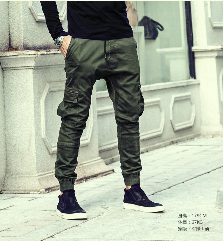 2017 spring new elastic men trousers green overalls trousers men's screw feet pants casual trousers muti pocket mens cargo pants