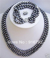 shipping ******Natural 3 rows black pearl necklace bracelet earrings set