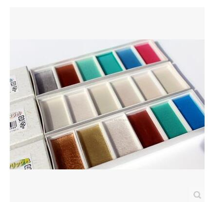 Japanese 6 Colored Solid Watercolor with three type pearl/metal /auro colors Art Paints Set Artist Crafts School Stationeries