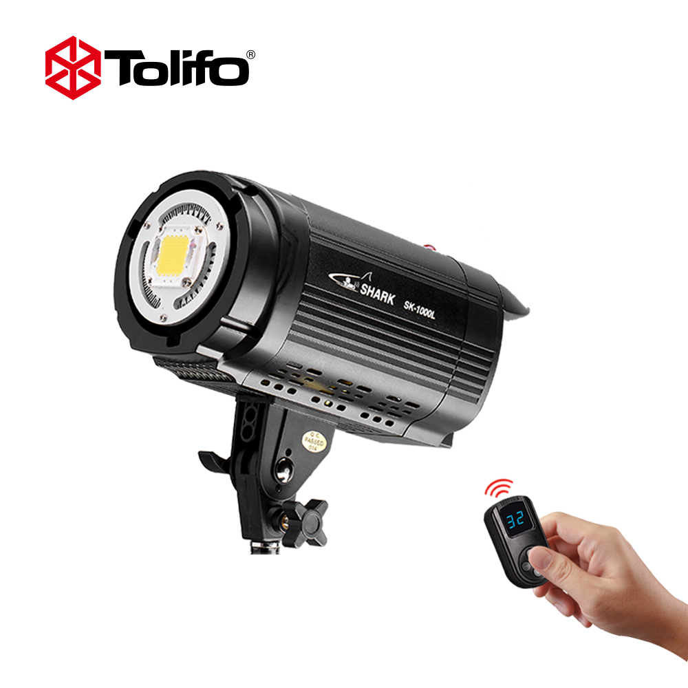 Tolifo SK-1000L 100W 5600K Integration LED Studio Continous Video Light With Bowens Mount For DSLR Camera + Remote Control