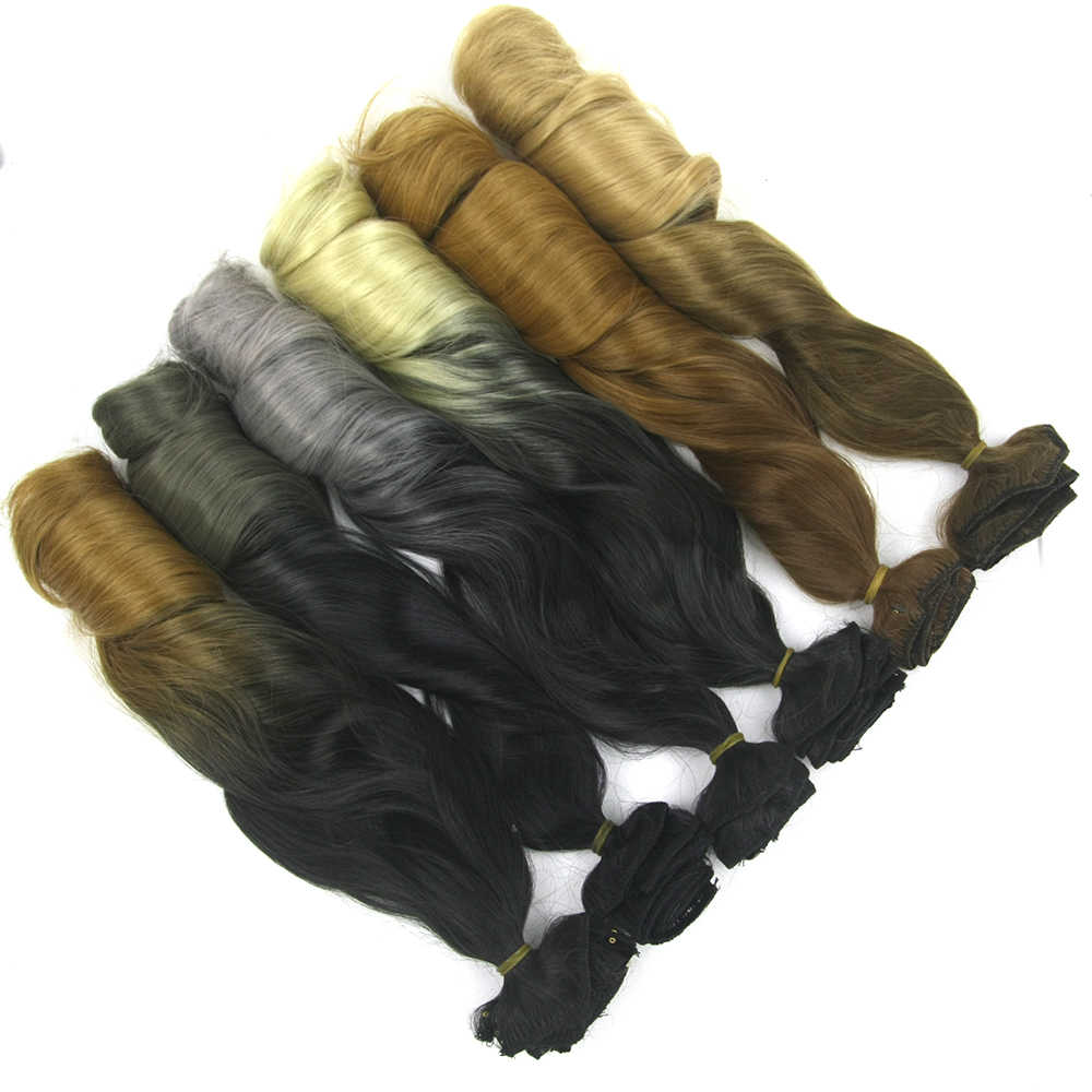 Soowee Uzun Kıvırcık Sentetik Saç Isıya Dayanıklı Siyah Kahverengi Sarışın ombre saç Klip Saç Uzatma Aplik De Cabelo