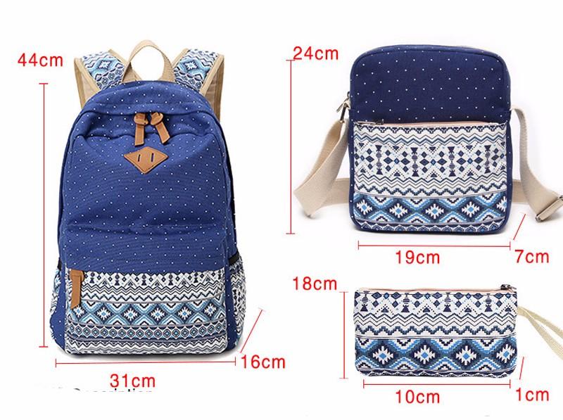 Canvas Printing Backpack Women School Bags for Teenage Girls Cute Bookbags Laptop Backpacks Female Bagpack 3 Piece one Set 6
